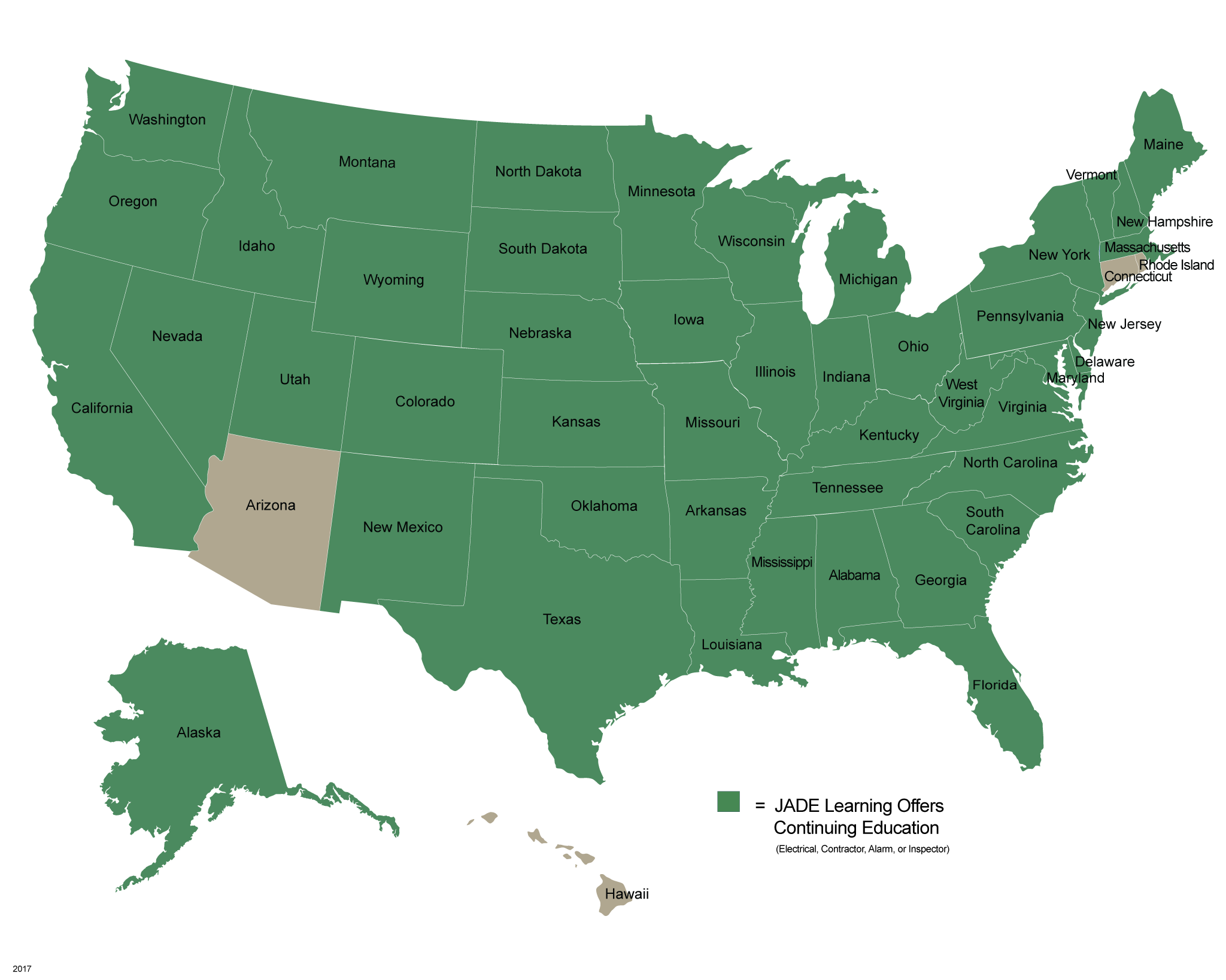 JADE Learning Map of All Approved States