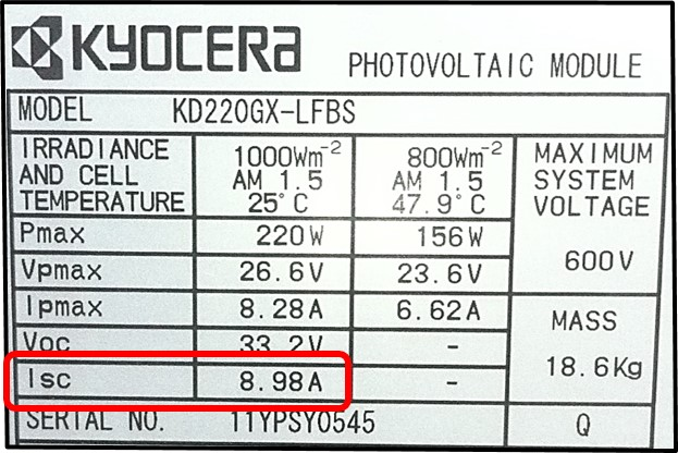 Illustration of information found on a PV module label