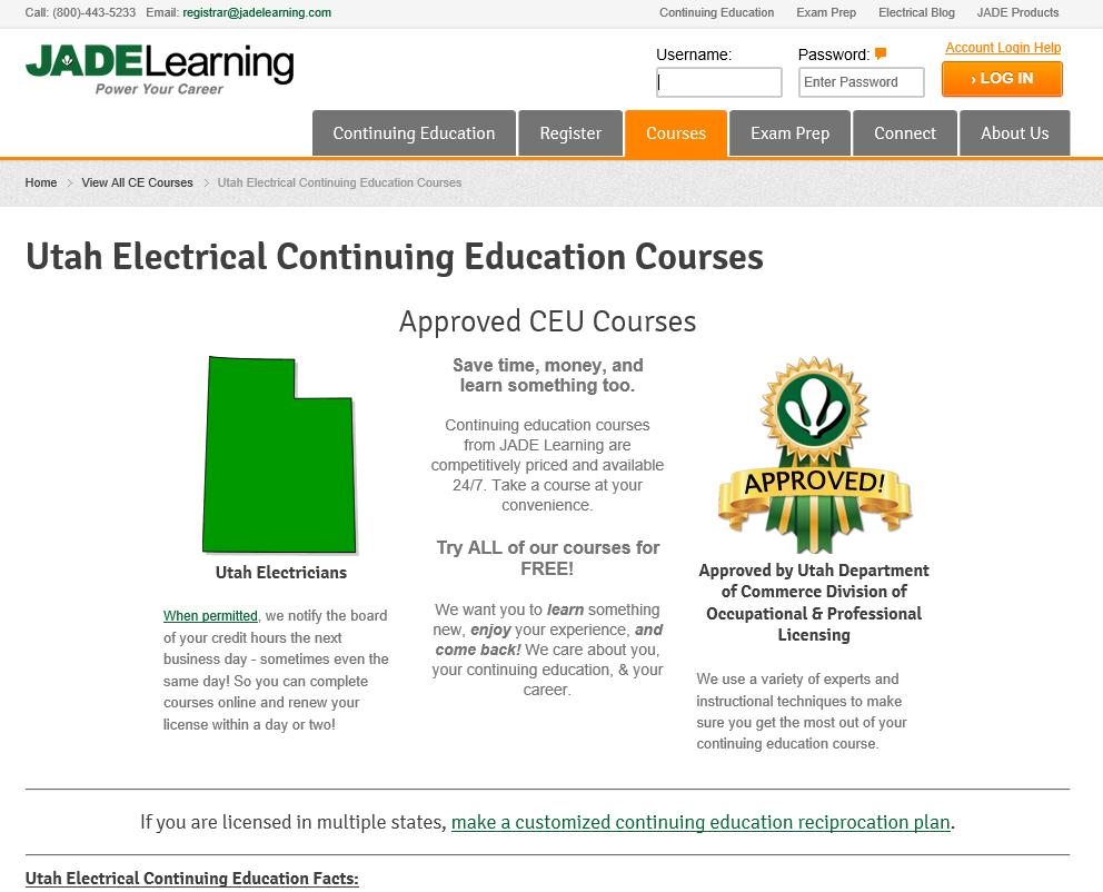 Utah Department Of Education >> Utah Contractor Continuing Education For License Renewal Jade Learning
