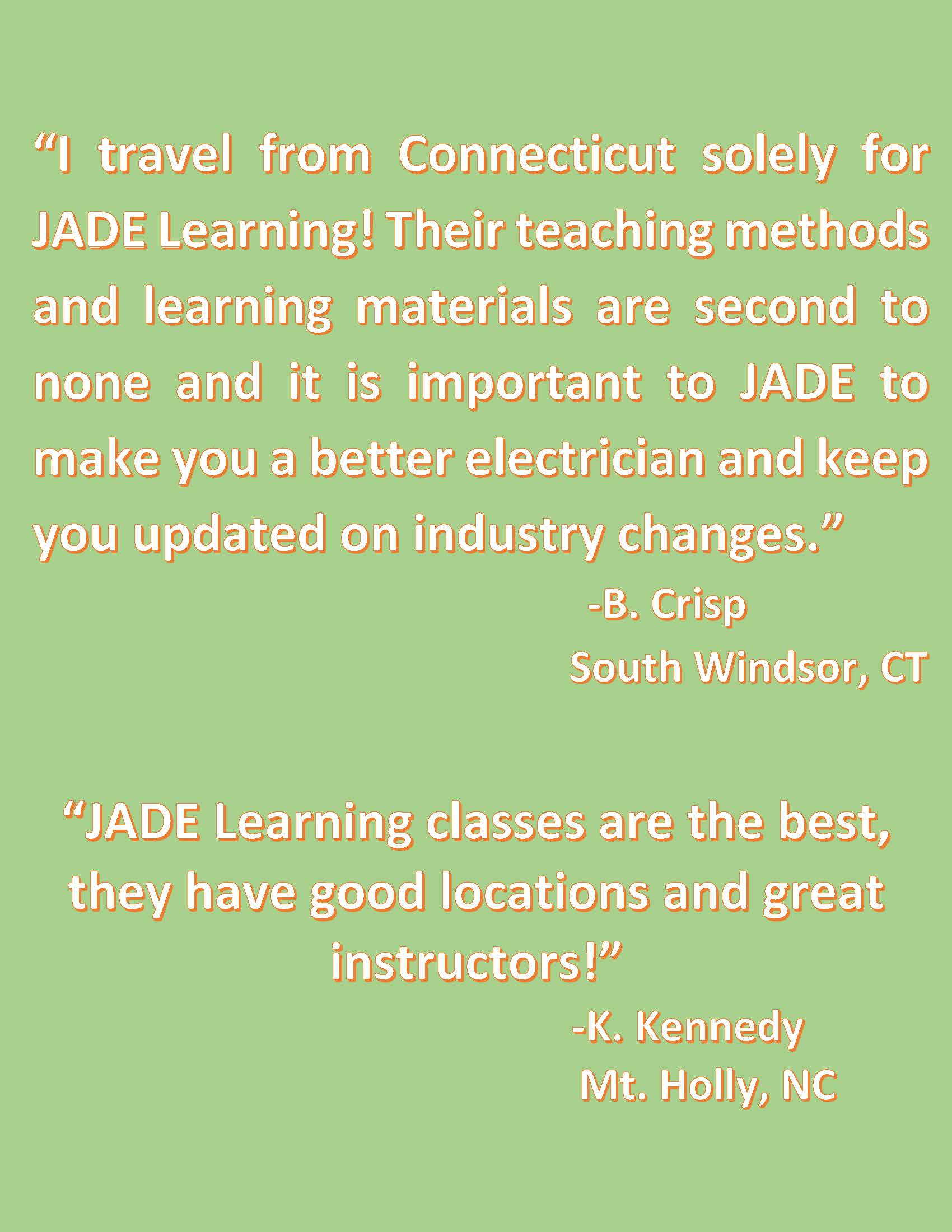 NC Electrical Classroom Testimonials