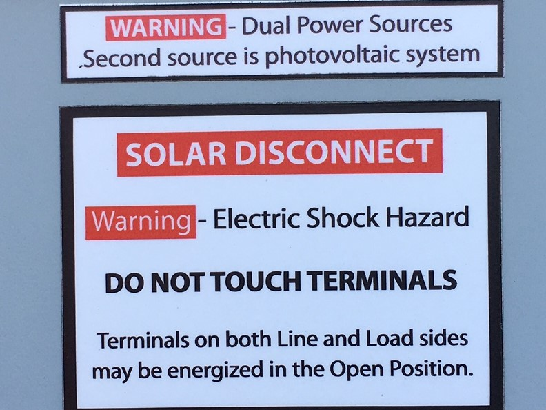 PV System Warning Sign required by 690.13
